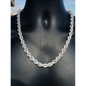 Harlembling 925 Sterling Silver Diamond Rope Chain
